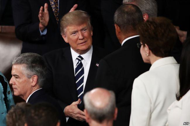 Presiden AS Donald Trump tiba di Kongres untuk berpidato (28/2).